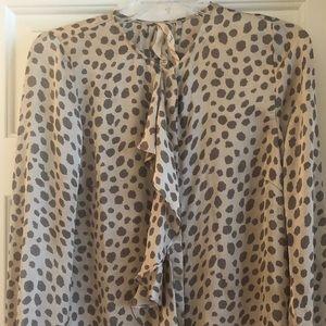 Cheetah print silk blouse